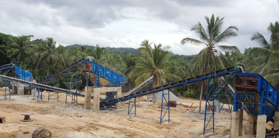 basalt crushing production line on site